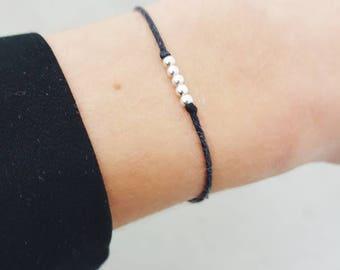 Sterling silver friendship bracelet, Silver Bead Bracelet, Minimal bracelet, Friendship bracelet, Simple silver bracelet,  Minimalist Style