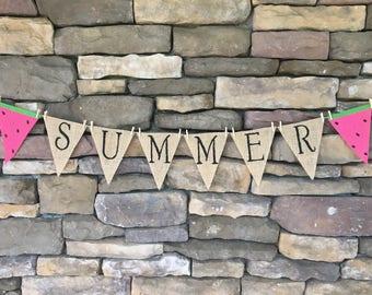 Summer burlap banner, summer banner, summer garland, summer bunting, watermelon banner, watermelon burlap banner, summer decor, porch decor