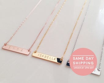 Ships Same Day - Custom Name Necklace Bridesmaid Gift Name Bar Necklace Personalized Best Friend Necklace - 4N