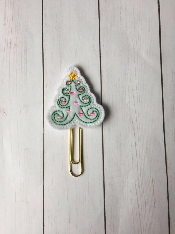 White Swirl Christmas Tree planner Clip/Planner Clip/Bookmark. Tree Planner Clip. Christmas Planner Clip. Holiday Clip. Christmas Tree Clip