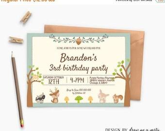 20% OFF Woodland Birthday Invitation , Woodland Invitation , Woodland Animal , Forest Invitation , Fall Invitation , Personalized , DIY , Pr
