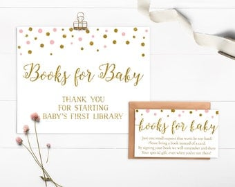 Pink and Gold Book Request Baby Shower, Bring a Book Insert, Books For Baby Card, Book Request Insert, Girl Baby Shower, Printable - CG2