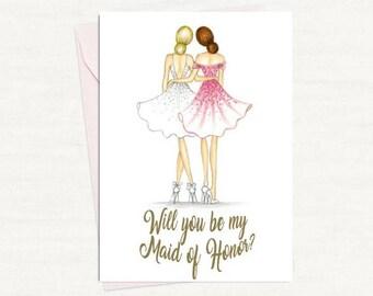 Maid of Honor PDF Download blonde bride, brunette maid of honor card, printable PDF
