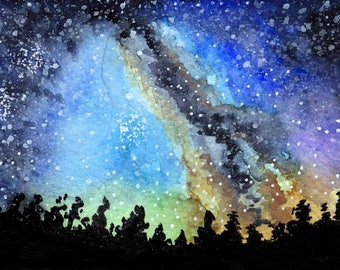 "Galaxy night sky print 1. Galaxy night sky landscape signed watercolor print by Eric Boireau. These are 5x7""matted and backed to 8x10""."
