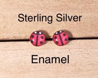 Lady Bug Red Enamel Sterling Stud Earrings, Sterling Lady Bug Stud Earrings, Red Black Lady Bug Stud Earrings, Tiny Lady Bug Stud Earrings
