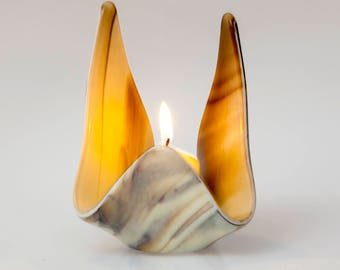Fused glass votive, glass candle holder,  ivory and brown votive, hostess gift, wedding gift,