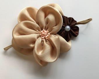 Large Neutral Flower Headband size: Newborn-1 year