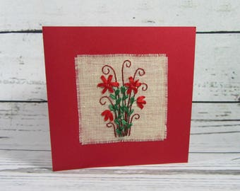 Hand embroidered card, blank card, card with envelope, floral greeting card, get well card, all occasion card,
