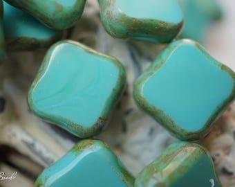 Mediterranian Blue, Square Beads,Czech Beads, Beads, N1641
