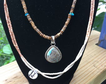 Boulder turquoise necklace and pendant