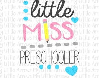 SALE- Little Miss preschooler SVG, DXF, Eps, png Files for Cutting Machines Cameo or Cricut - back to school svg - preschool svg
