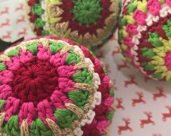 3 Handmade crochet Cristmas baubles, traditional colours
