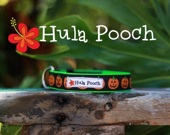 "Halloween Dog Collar ""Smiling Pumpkins"" - Small, Medium, Large, Wide Adjustable // FREE SHIPPING"