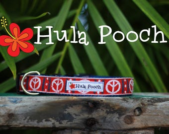 "Dog Collar ""Peace Out"" Red Blue White - Small Dog Collar, Medium Dog Collar, FREE SHIPPING, Adjustable"