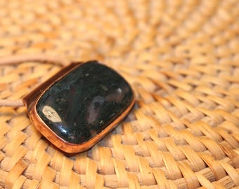 moss agate on recycled copper pendant necklace