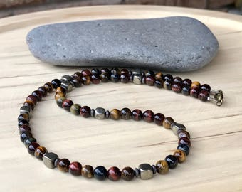 Tiger's Eye Men's necklace Beaded necklace Pyrite necklace Protection necklace Gift for him Mens gift (#4)