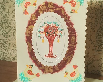 Handmade 'Partridge in a Pear tree' Christmas card (with original artwork)