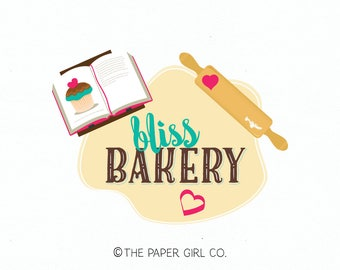 bakery logo design baking logo design bakers logo design cupcake logo design cookie cutter logo rolling pin logo premade baking blog logo