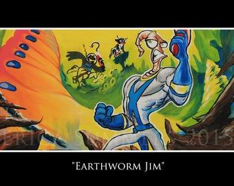 11x17 inch Earthworm Jim Fine Art Print with built-in matte