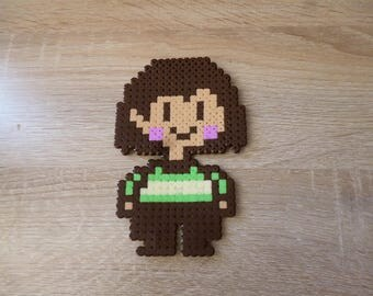 Sprite of Frisk or chara from Undertale in perler beads - Pixel Art - Hama Beads