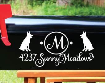 Mailbox Decal Set of 2 - Double German Shepherd Dog Custom Vinyl Mail Box Name and Address Decals Home Address Number Cover Animal Pet