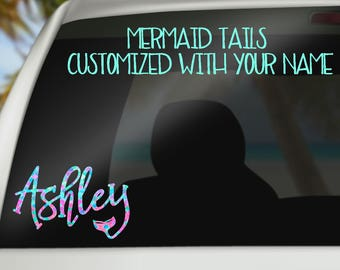 Mermaid Name Decal - Personalized Name Decal With Mermaid Tail - Pattern Name Car Decal - Yeti Decal - Laptop Decal - Mermaid Decal - Preppy