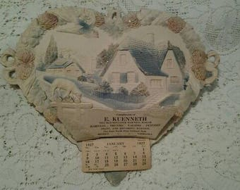 Antique Embossed Die-cut  Calendar 1927