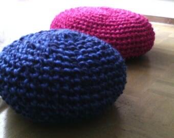"pouf crochet ""olga"" blue acrylic yarn"