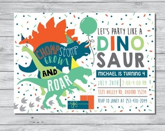 Dinosaur Birthday Party Invitation, Dinosaur Birthday Boy Invitation, Boy Birthday Party, Boy Birthday Party Invitation, Dinosaur Invitation