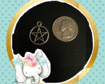 Wiccan star Silver Bracelet Charm / Planner Charm