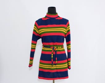 Vintage 70s Womens Medium Large Striped Tunic Mod Mini Dress