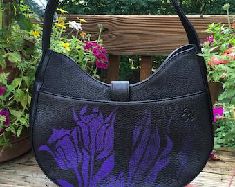 Large comfortable purple on black floral hobo bag