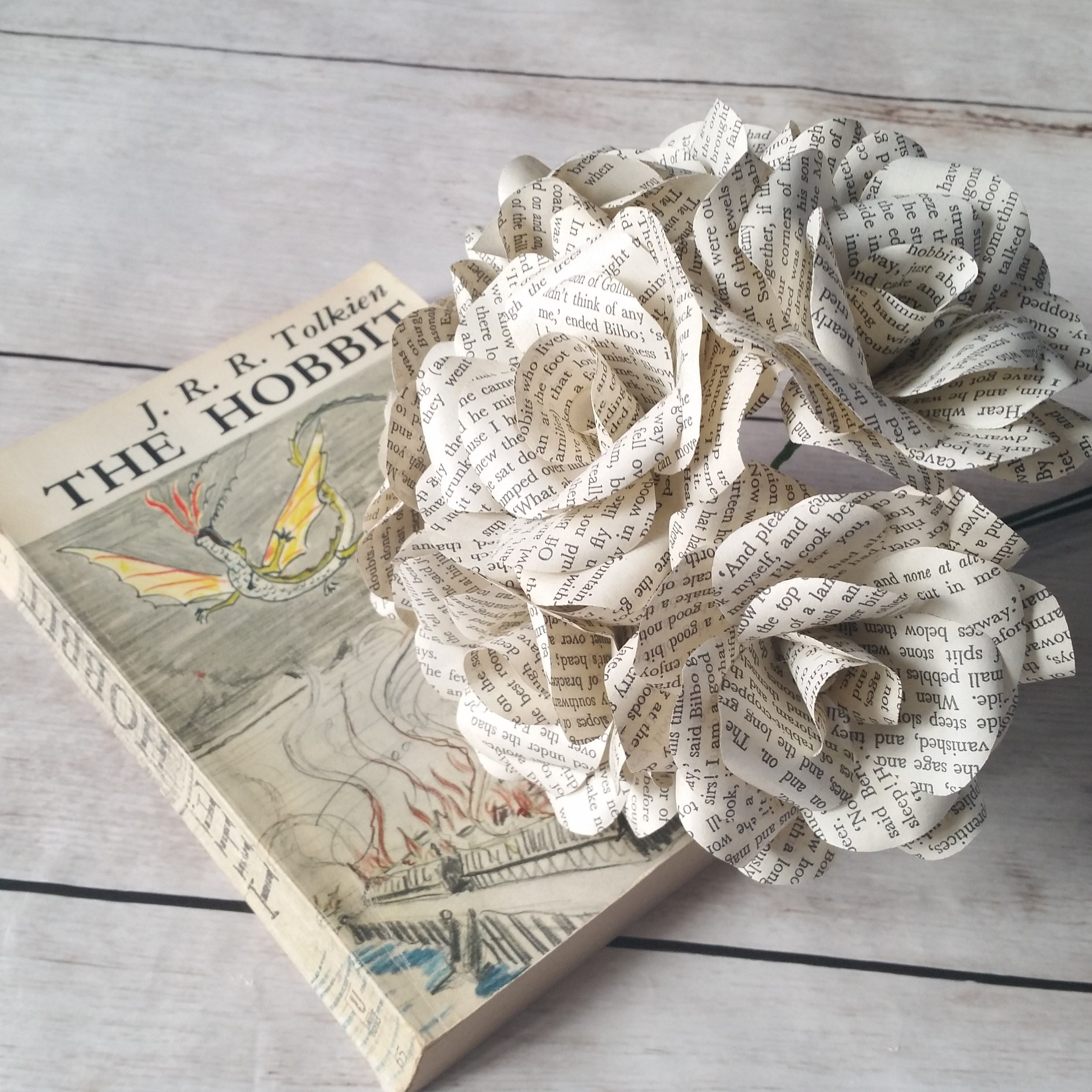 6 x the hobbit paper roses book page paper flower roses handmade 6 x the hobbit paper roses book page paper flower roses handmade paper roses mightylinksfo