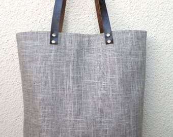 Linen tote bag, Large tote, Organic linen bag, Shoulder bag, Summer bag, Casual tote, Beach bag, Carry all bag,  real leather handles