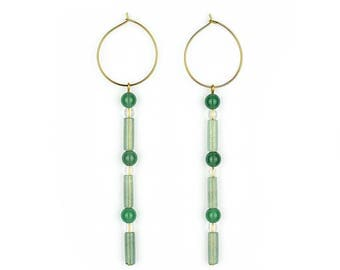 Gemstone hoops with Aventurine, agate and mountain crystal-Cara