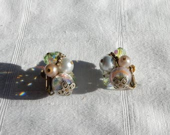 Vendome Clip on Earrings with Aurora Borealis, Lampwork Glass Beads, and Faux Pearls - Vendome Jewelry - Cluster Earrings - Vendome Vintage