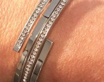 New Silver  CZ Rhinestone  Bangle Bracelet