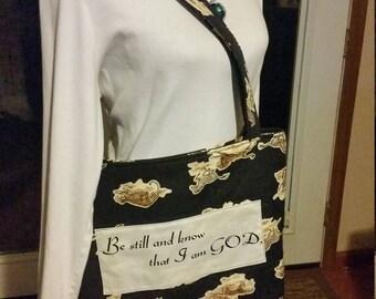 Christian and animal print tote bag