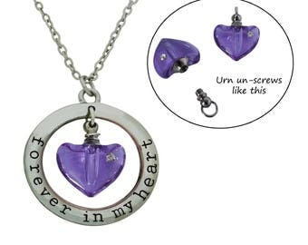 Forever in My Heart Memorial Cremation Urn Necklace with Mini Heart Crystal Vial Urn Ash Holder Pendant Pet Loss Urn Includes Funnel