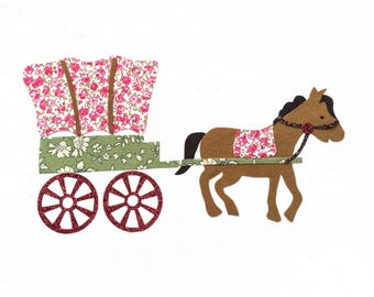 """Applied fusible """"My best vacation in wagon and horse"""""""