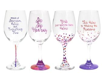 Stet of Wine Glasses, Tall, Wine Glass, Unicorn