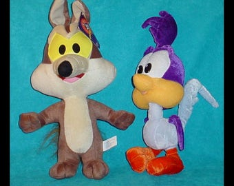 Baby Road Runner and Wile Coyote Vintage Plush Stuff Animals