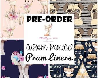 PRE-ORDER Universal Pram Liner - Perfect Baby Shower Gift - Gorgeous Fabrics elephants deers pugs bears tribal