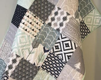 Tribal Baby Quilt, Baby Boy Bedding, Aztec Mudcloth Baby Quilt, Neutral Baby Quilt, Aztec Nursery, Tribal Crib Bedding, Navy Gray Beige Mint