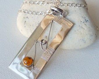 Vintage Gold Amber Modern Art Pendant, Sterling Silver  Modernist Chain Necklace, Honey Gold Baltic Amber, Amber Necklace, Amber Pendant 925
