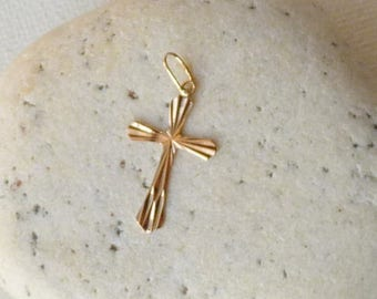 14k Gold Vintage Cross Pendant, Vintage Yellow Gold Cross, Religious 14kt Vintage Gold Pendant, Charm, Simple Gold Cross