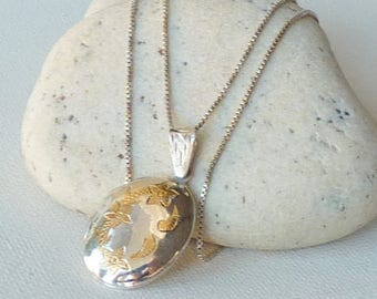 Sterling Silver Locket Necklace Gold Tone Floral Engraved Oval Photo Locket Romantic Jewelry, Retro Necklace 925 Locket Oval Photo Jewelry