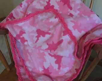 Pink Camo Baby Fleece Blanket, Toddler Blanket, Ready to Ship, Camo Baby Nursery, Pink Camo Baby Shower, Hot Pink, Baby Girl Gift