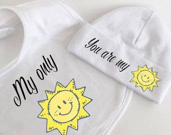 Baby hat, baby bib, sunshine hat, cotton baby hat, cotton baby bid, hat and bib set, bib and hat set, baby shower gift, gifts for babies