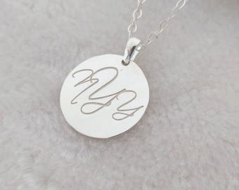 Monogram Necklace Sterling Silver,Monogrammed Necklace,Silver Script Necklace,Disc Jewelry,Engraved Disc Necklace,Personalized Necklace
